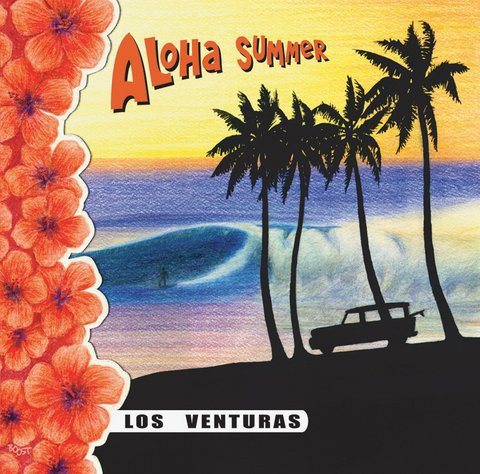 Album cover of Los Venturas Aloha Summer with drawing of palm beach and surfer