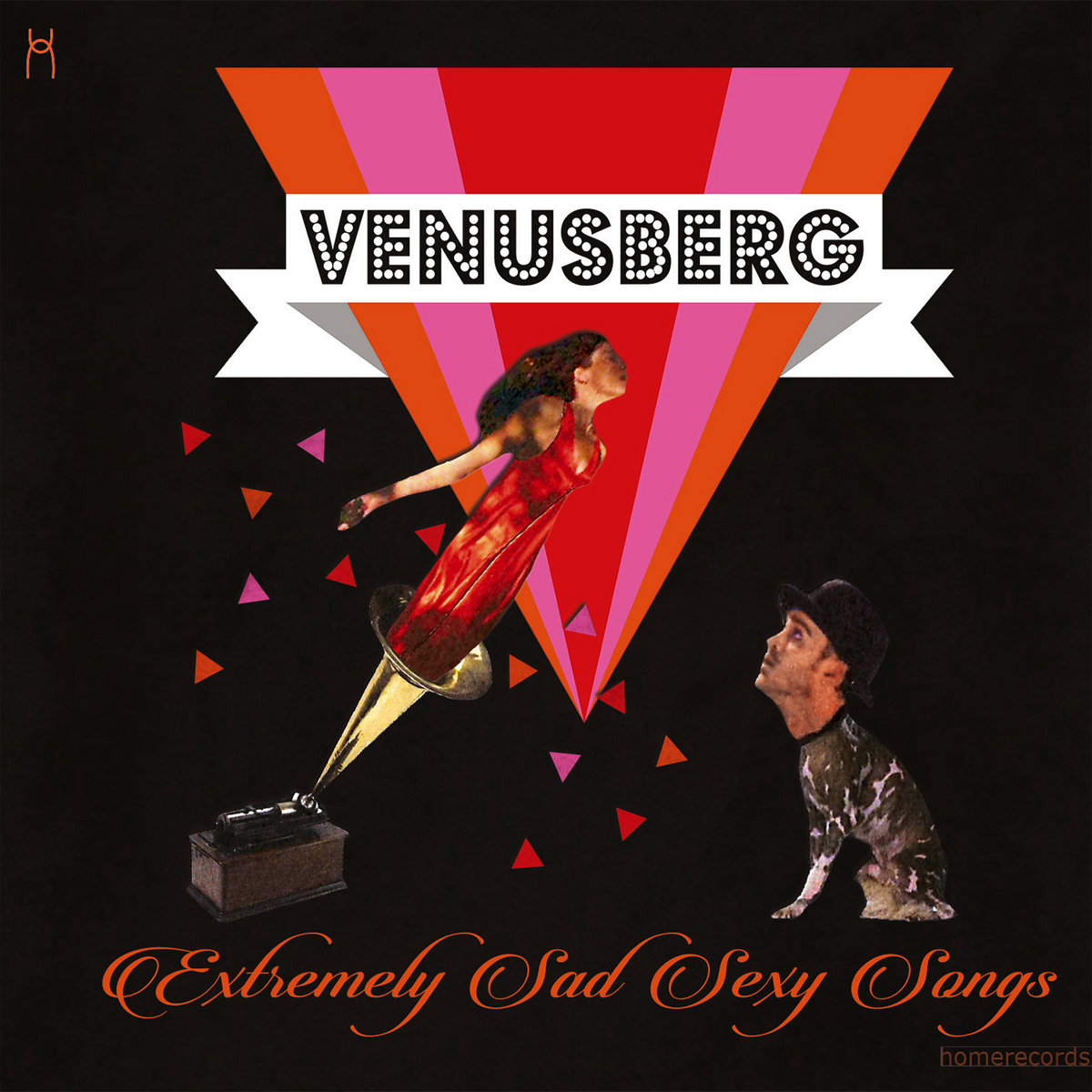 Album cover of Venusberg Extremely Sad Sexy Songs with Geneviève Voisin flying out of a gramophone