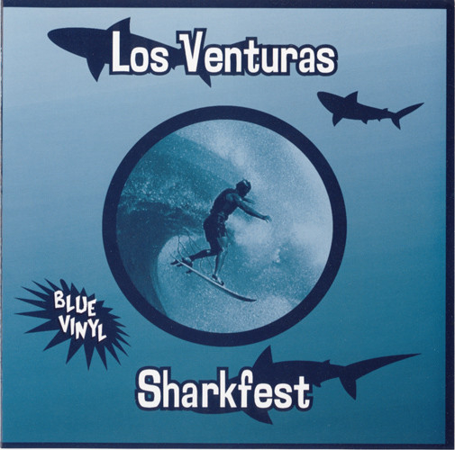 Single cover of Los Venturas Sharkfest with sharks and a surfer