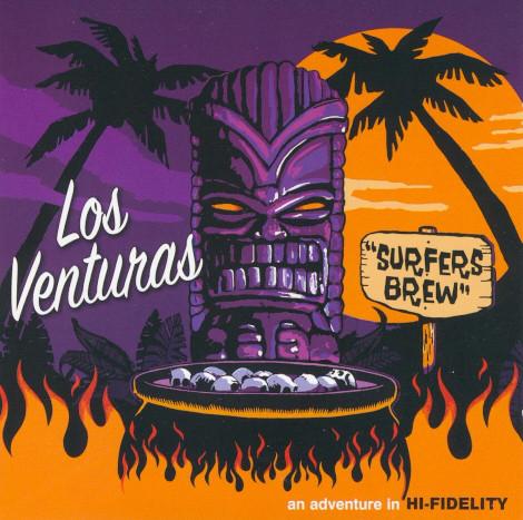 Album cover of Los Venturas Surfers Brew with tiki artwork by Mighty Sam